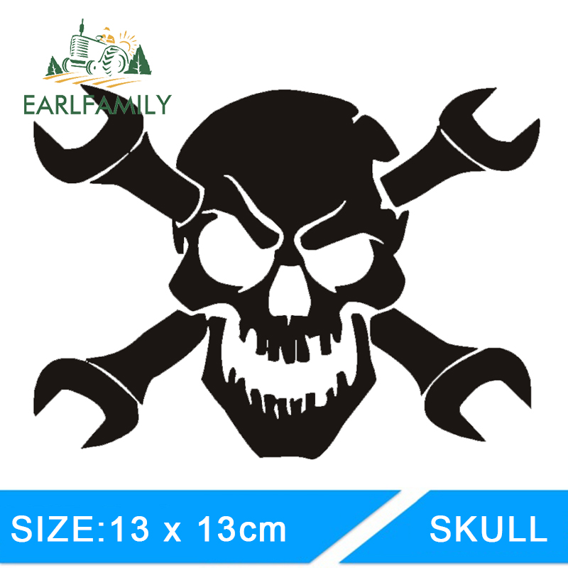 EARLFAMILY 13cm X 13cm Funny Skull Mechanic Wrench Decal Sticker Truck Car Window Funny White Vinyl Car Stickers Graphics
