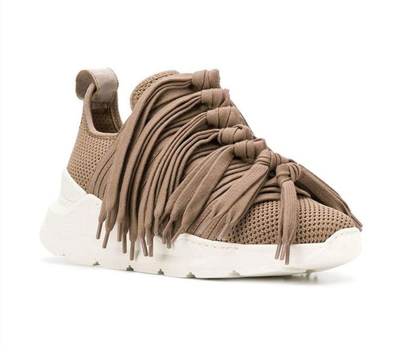 Marca Casuales Tejido blanco Transpirable Flecos Para Con Borlas rojo caqui Malla De Zapatos Zapatillas Deporte 2019 Fondo Nueva Mujeres Negro q8P6tt