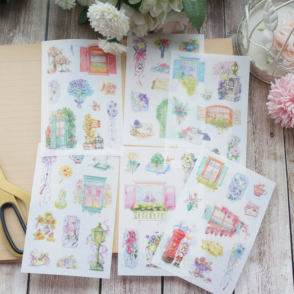 6 sheets Englischer Garten washi Paper sticker as Scrapbooking DIY gift packing Label Decoration Tag party