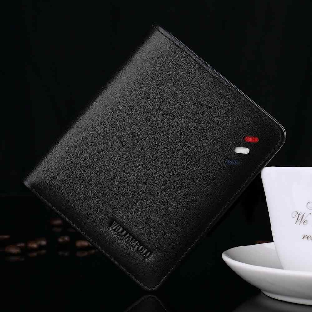 Мужской кошелек из натуральной кожи, короткий двойной тонкий мини-держатель для кредитных карт, сумка-Органайзер, черный, коричневый
