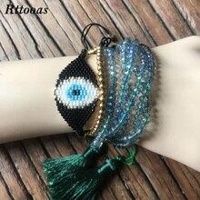 Rttooas Evil Eye Lucky Bracelet for Women Fashion Summer Street Style Crystal Beads MIYUKI Delica Seed