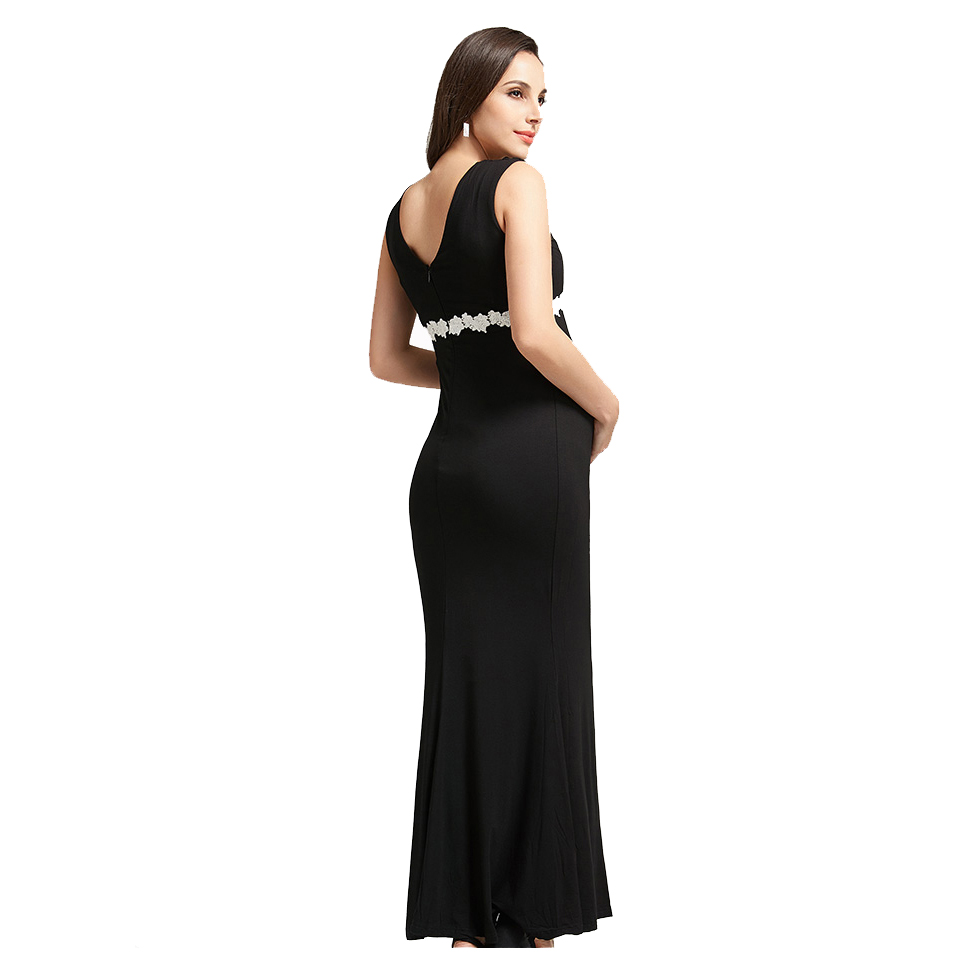 Summer Deep V-neck High Waist Maternity Maxi Dresses Sleeveless Draping Long Evening Gown for Pregnant Women Dinner Slim Dress
