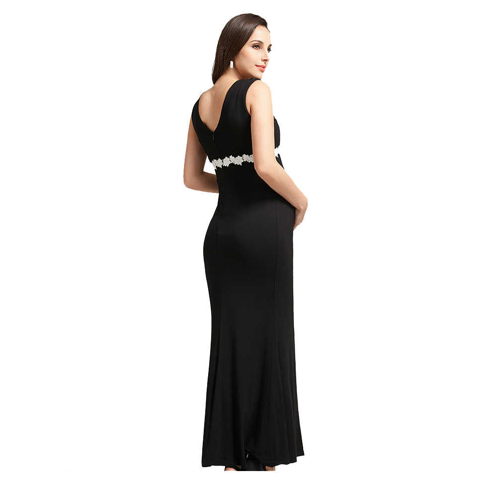 c2a0f4ac3d235 Summer Deep V-neck High Waist Maternity Maxi Dresses Sleeveless Draping Long  Evening Gown for