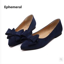Lady Fashion Hot Sale Bow Pointy Toe Nubuck Leather Plus size 34-44 Low Cutter Women Single Shoes Sophia Webster Leisure Slip-On(China)