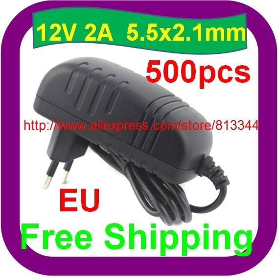 500 pcs Free Shipping AC 100 240V to DC 12V 2A 5 5x2 1mm EU Power