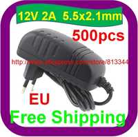 500 pcs Free Shipping AC 100-240V to DC 12V 2A 5.5x2.1mm EU Power Adapter Supply Charger 12V 2000mA