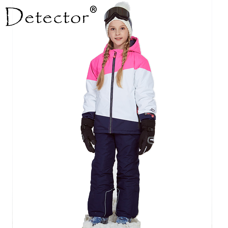 Detector Girl Ski Jacket and Pant Winter Warm Skiing Suit Windproof Outdoor Children Clothing Set Kids Snow Sets For Boys Girls 2016 new free shipping kids boys winter clothing set skiing jacket pant snow suit 20 30 degree boys ski suit size134 164