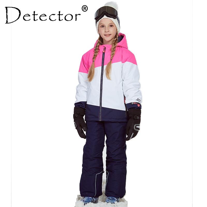 Rivelatore di Giacca Da Sci Della Ragazza e Pantaloni Inverno Sci Caldo Antivento All'aperto Per Bambini Insieme Dei Vestiti Dei Bambini Insiemi di Neve Per I Ragazzi ragazze