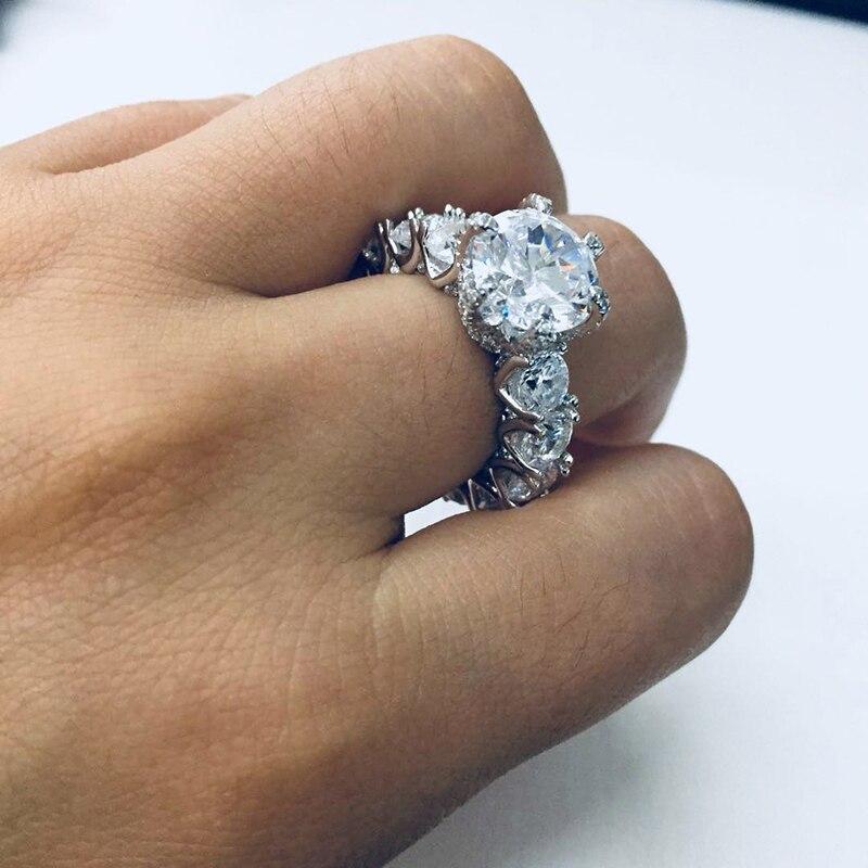 LESF bijoux de luxe bague femmes 4 carats taille ronde Premium Zircon 925 en argent Sterling mode bague de fiançailles bienvenue personnalisé - 5