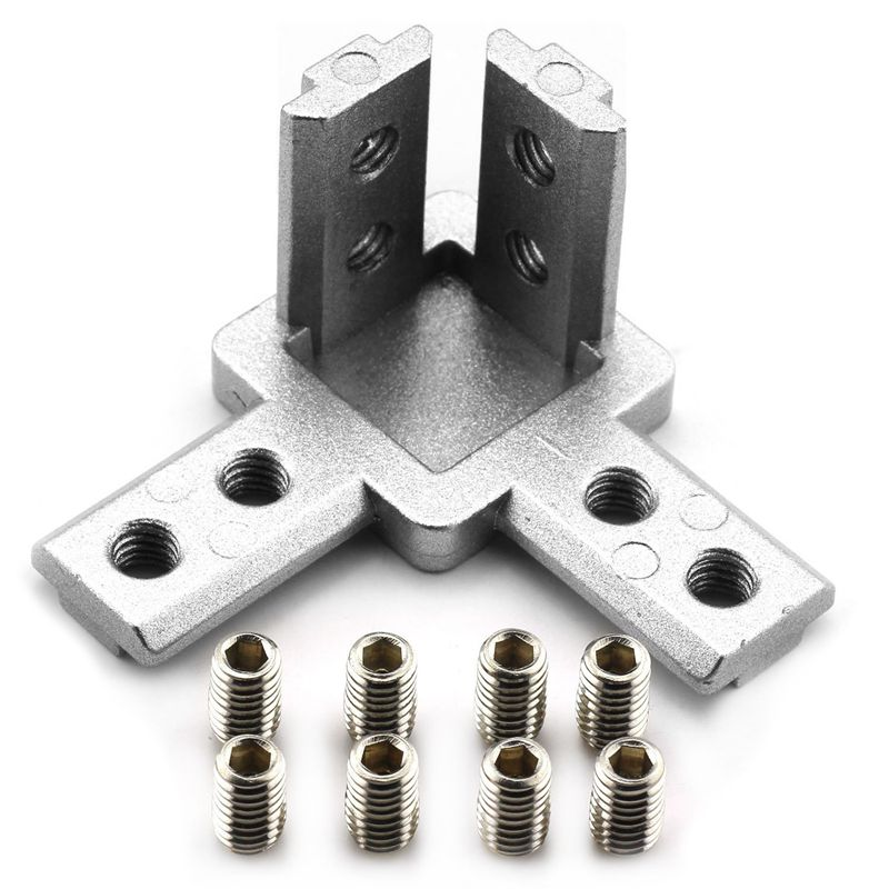 4-Pack 3030 Series 3-Way End Corner Bracket Connector,With Screws For Standard 8Mm T Slot Aluminum Extrusion Profile4-Pack 3030 Series 3-Way End Corner Bracket Connector,With Screws For Standard 8Mm T Slot Aluminum Extrusion Profile