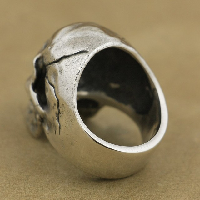 925 Sterling Silver High Detail Skull Ring Mens Biker Punk Ring TA50A US 7~15