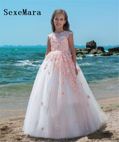 New Customized Flower Girl Dresses for Wedding Princess Pink Lace Child Birthday Dress Pageant Party Gown Girls Vestidos