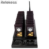 Retekess T112 999 Channel 무선 페이징 대기열 System 레스토랑 호출기 1 Transmitter + 20 코스터 호출기 레스토랑 장비