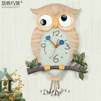 Original classic fashion creative living room clock Tianyuan Jing sound swing owl art wall clock watch