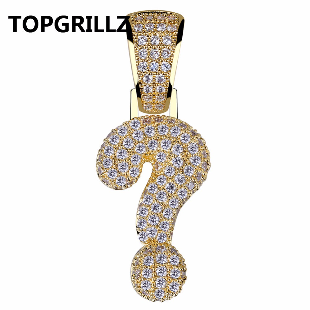 TOPHRILLZ Hip Hop Gold Silver Color Plated Iced Out Micro Pave Cubic Zircon Question Mark Pendant Neckace Charm For Men Women