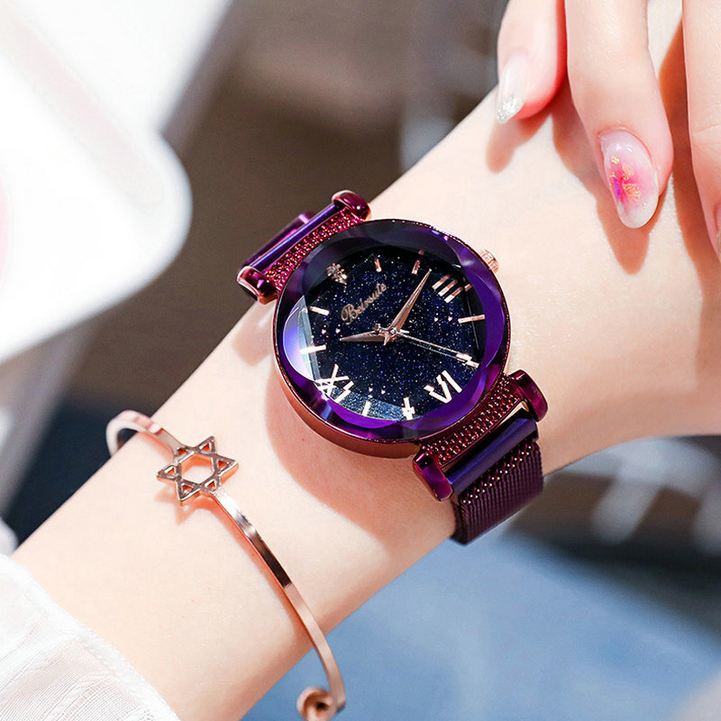 Best Selling Women Mesh Magnet Buckle Starry Sky Watch Casual Luxury Women Geometric Surface Quartz Watches 100pcs/lot