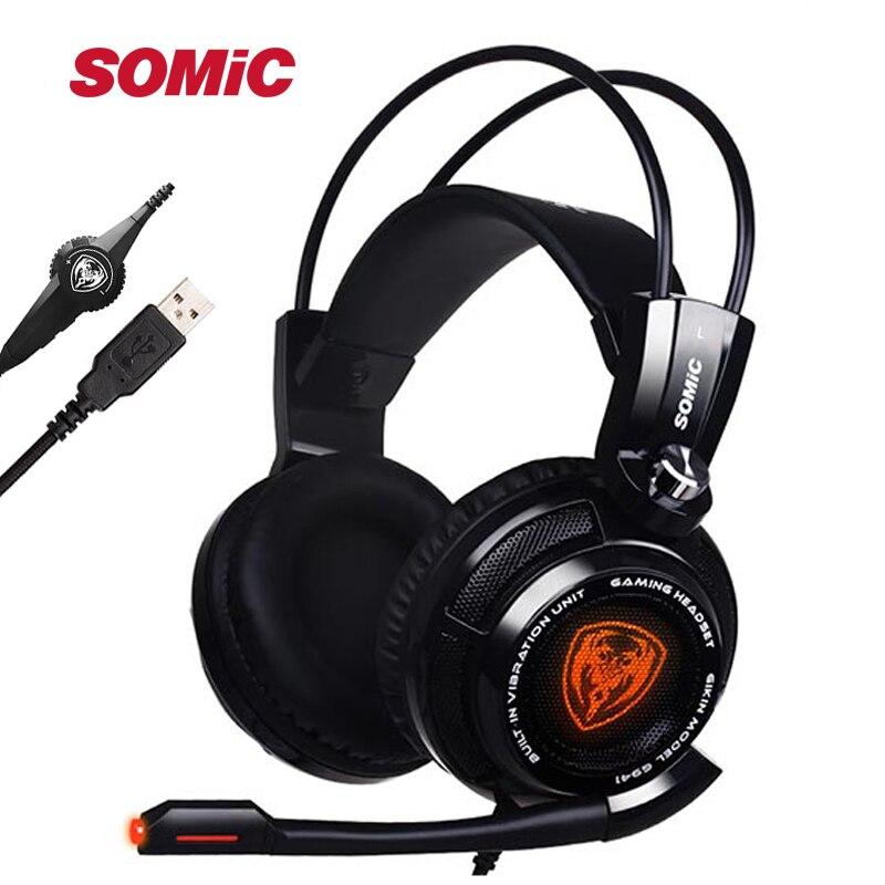 Somic G941 7,1 Gaming auriculares Auriculares auriculares con micrófono USB cancelación del ruido estéreo bajo vibración de luz LED para PC PS4 jugador