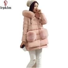 5XL 2017 New Fashion Cotton Elegant Parka Coats Long Fur Hooded Plus Size Warm Down Jacket  Padded Outwear manteau femme YY28