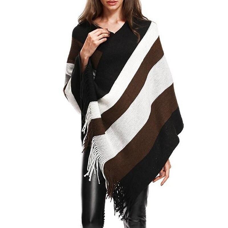 Fashion Women Striped Sweater Cloak Female Autumn Winter V-Neck Batwing Sleeve Striped Knitted Cloak With Tassel