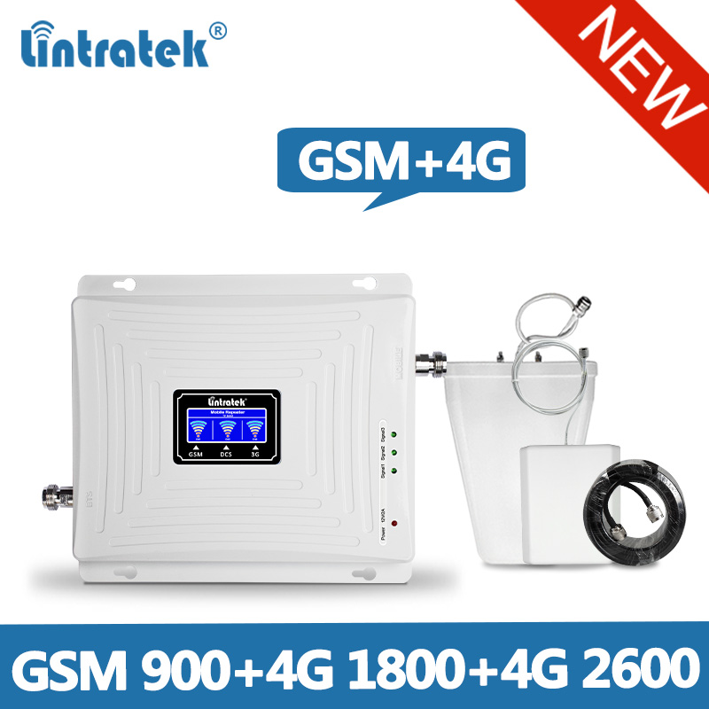 Lintratek 1800 2600 4G Repeater GSM 900 Triband Signal Booster GSM 900 LTE 1800 Booster 4G 2600 Signal Amplifier Full Kit