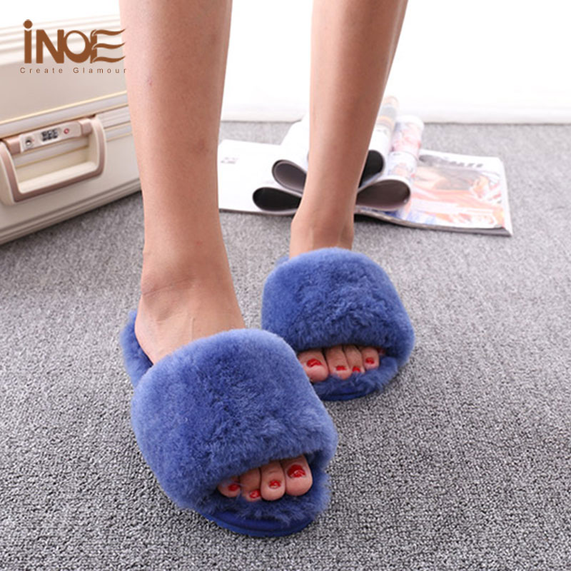 New Arrival Sheepskin Leather Bedroom Slippers Women\'s Shoes Indoor ...