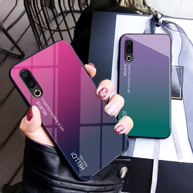 For <font><b>Meizu</b></font> 16S Case <font><b>Meizu</b></font> <font><b>16</b></font> S Cover Gradient Tempered Glass Shockproof Soft Silicone Frame Protective Cover for <font><b>Meizu</b></font> 16S Cases image