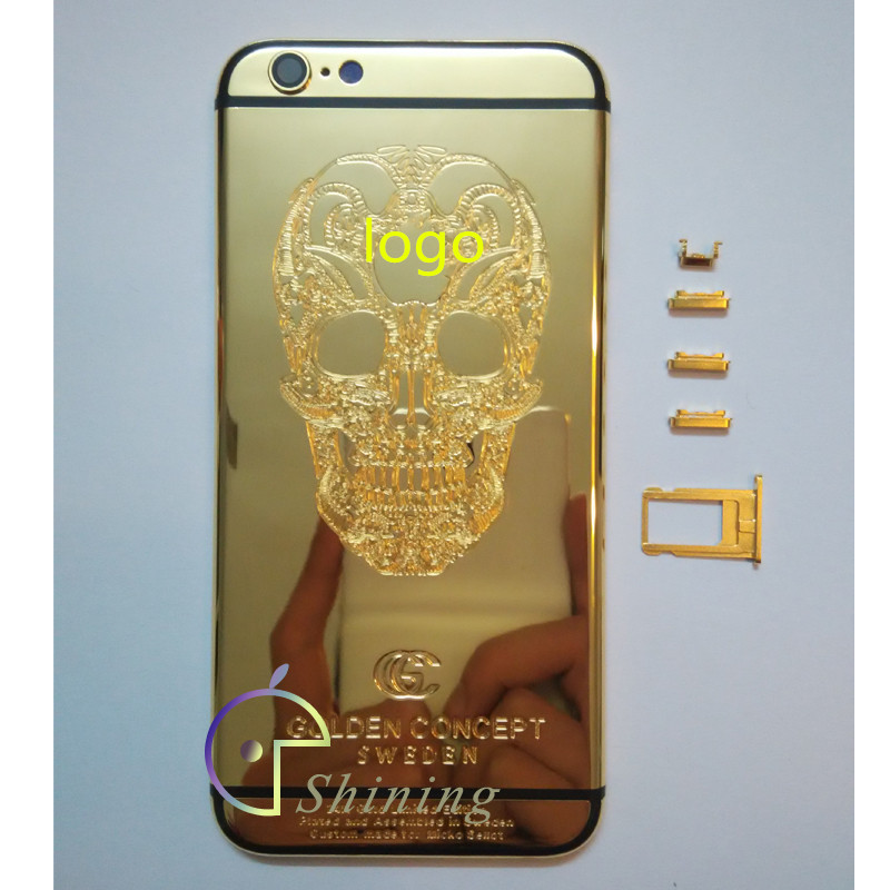 pretty nice 00cb8 4d8f2 US $47.8 |100% Perfect Replacement For Apple iphone 6 24K Gold Limited  Edition SKULL Golden Concept Housing Back Cover+Card Tray+Button on ...