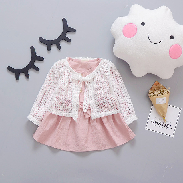 2016 nueva primavera otoño bebé dress girl dress princess dress 100% del cordón del algodón de los niños girl dress 0-2 años de envío gratis