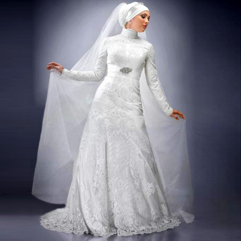 Fancy muslim lace wedding dresses with hijab a line high for Wedding dresses in dubai prices