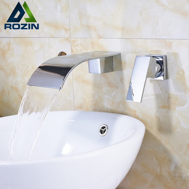 Luxury Two Holes Wall Mounted Waterfall Basin Faucet Tap Chrome Widespread Bathroom Hot and Cold Mixer