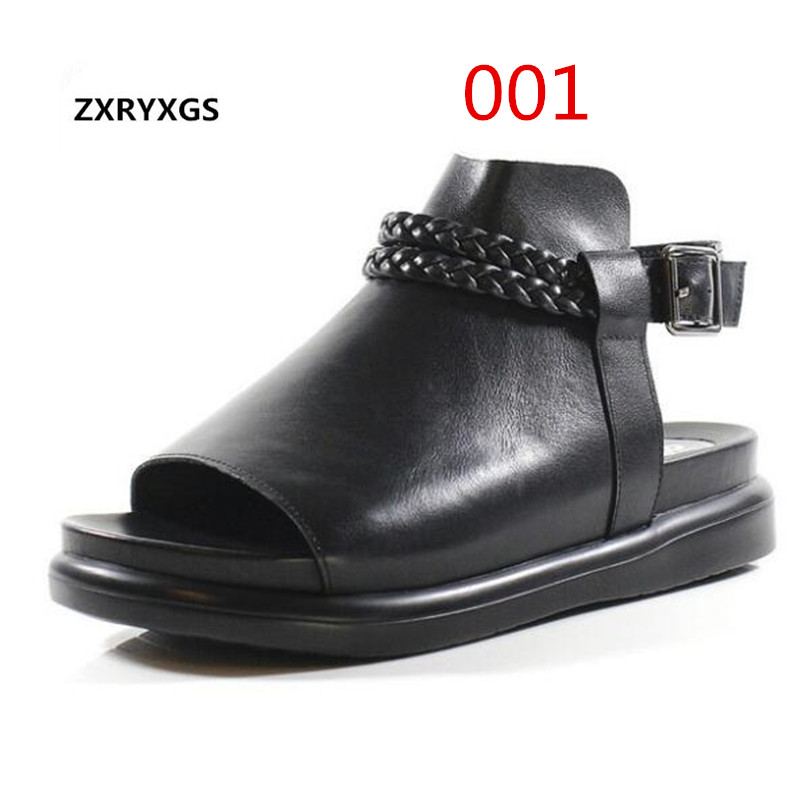ZXRYXGS Original Thick Bottom Hand-knit Open Toe Women Shoes Roman Sandals 2019 Summer Leather Sandals Female Flat Sandals BlackZXRYXGS Original Thick Bottom Hand-knit Open Toe Women Shoes Roman Sandals 2019 Summer Leather Sandals Female Flat Sandals Black