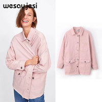 2019 spring autumn jacket women cotton england style button solid turn down neck pink long sleeve winter coat women