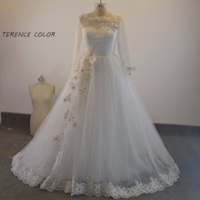 2017 Fall Winter Romantic Wedding Dresses Ball Gown Long Sleeve See Through Back Wedding Gowns Handmade Flower Lace Bridal Gowns