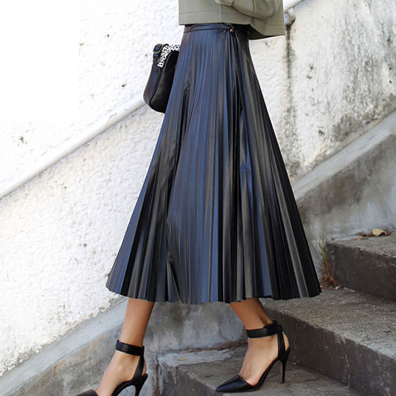 women-winter-skirts-2015-pleated-vintage-pu-faux-leather-brief-black-long-skirt-KB852