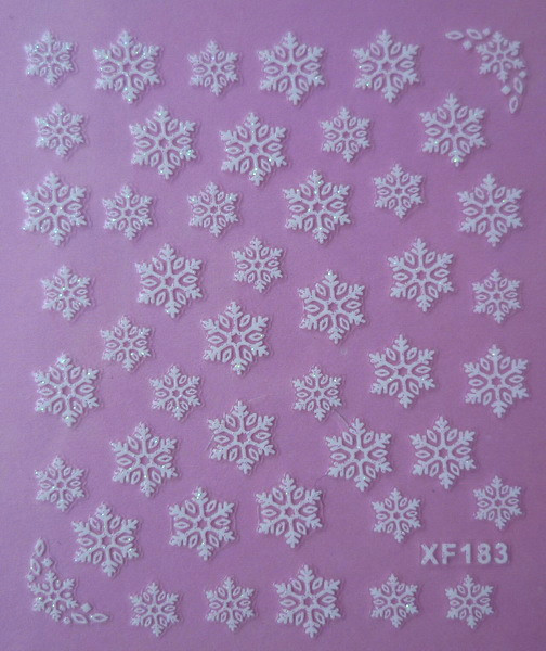 white 3D snowflake design Water Transfer Nails Art Sticker decals lady women manicure tools Nail Wraps Decals XF183