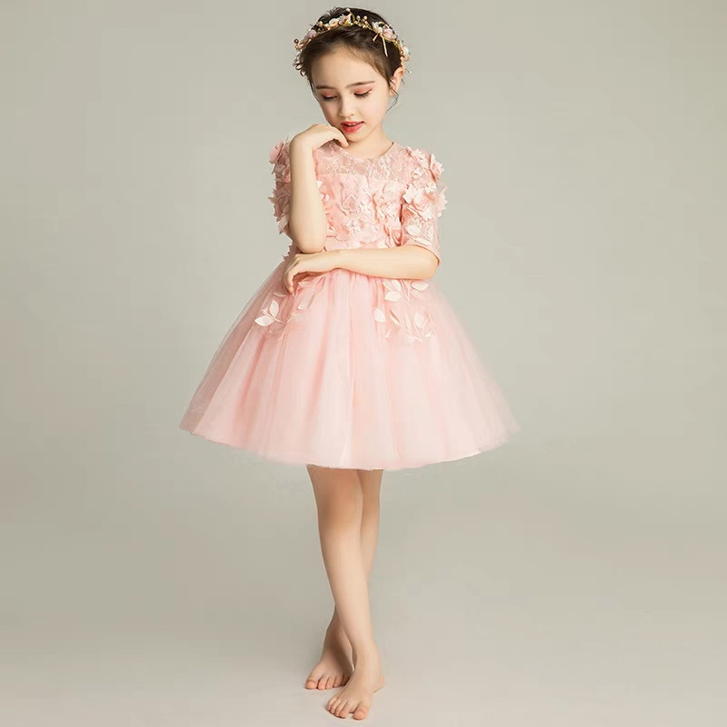 3~15years Children Girls Elegant Pink White Color Birthday Evening Party Princess Flowers Lace Dress Teens Kids Wedding Dress 2018 summer new kids baby white color princess lace flowers dress for birthday party children girls wedding evening party dress