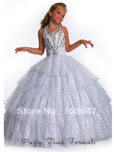 White sequins beaded sweep train halter sleeveless Girl\'s Pageant ...