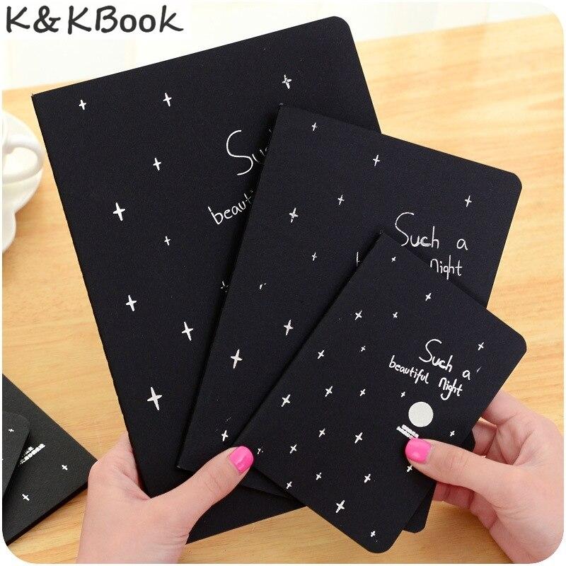 K&KBOOK T Korea Stationery Galaxy Black Within Page Car Line Doodle Sketch Notebook Lovely Originality Blank Sketch Basis