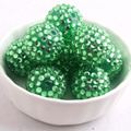 12mm/16mm/10mm to 26mm light green plating Color Whoelesales Chunky Resin Rhinestone Beads Ball for Kids Necklace Jewelry