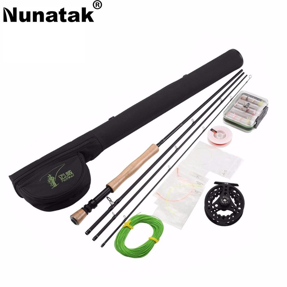 Nunatak   Carbon Fiber Fly Rod Combo 9 FT Rods and  Fishing Reel 7/8 Aluminum and 2.7M Rod Reel +  Line+ Box Fly Lure цена и фото