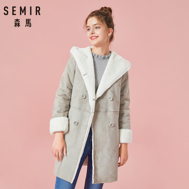 SEMIR Womens Long Sherpa-Lined Suede Coat with Hood Women's Hooded Coat Double-Breasted Coat Women Fashion Stylish Coat Winter