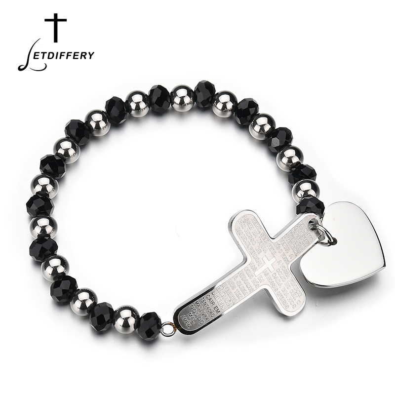 Letdiffery Steel Plated Stainless Steel Portuguese Cross Men Bracelets Fashion Beads Heart Bangles For Christmas Gift