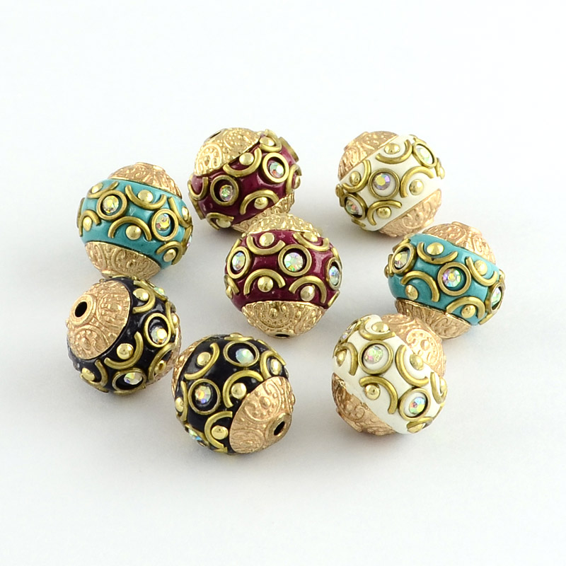 Mixed Color Round Handmade Grade A Rhinestone Indonesia Beads for DIY with Alloy Golden and Antique Golden Tone Cores,15x14mm stylish tea color round frame and golden leg design sunglasses for women