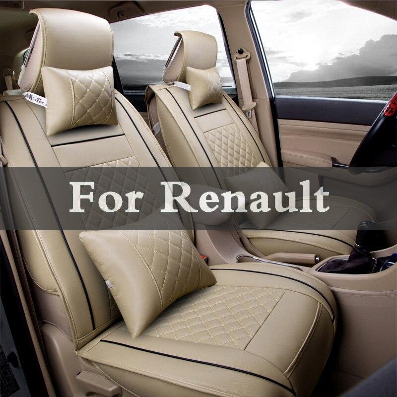 Novo Luxo Pu Leather Protector Auto Universal Tampas de Assento Do Carro Para A Renault Sandero Símbolo Talismã Twingo Twizy Vel Satis Vento