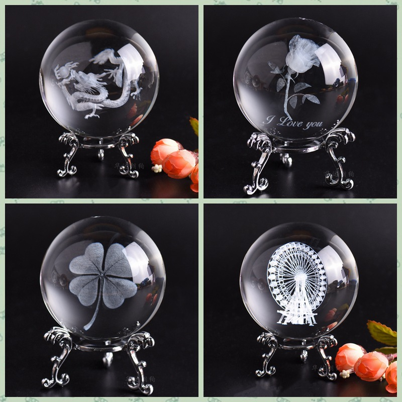 6CM 8CM Laser Engraved Cupid Dragon Ball 3D Solar System Model Sphere Glass Globe Ornament Home