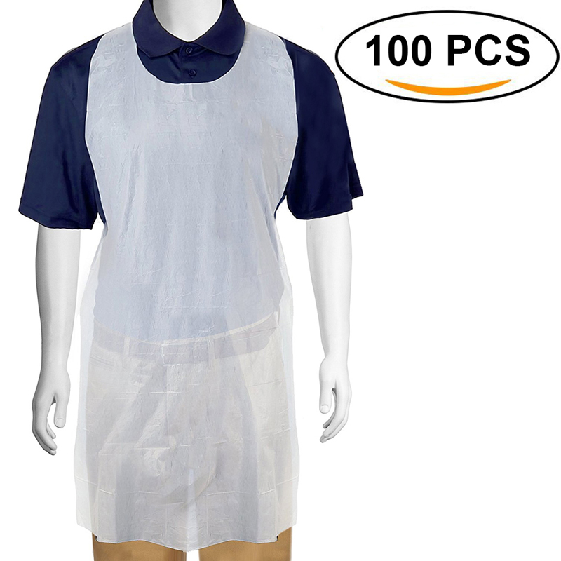Household Cleaning Aprons Alert 100pcs/set White Disposable Cleaning Apron Transparent Easy Use Kitchen Aprons For Women Men Kitchen Cooking Apron