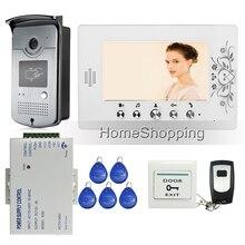 """Envío Gratis Home 7 """"LCD de Color de Vídeo Teléfono de Puerta de Intercomunicación 1 Monitor de Cámara de La Puerta de Acceso RFID + 1 Blanco + fuente de Alimentación de Control"""