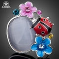 AZORA The Lady Beetle and Flowers Platinum Plated Stellux Austrian Crystal Adjustable Size Ring TR0060