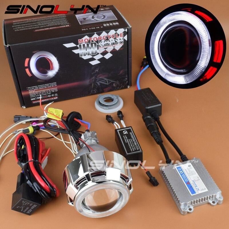 Sinolyn Double Angel Eyes Halo Motorcycle Headlight Lens HID Bixenon Retrofit DIY For Suzuki/Yamaha/Kawasaki/Honda Accessories