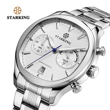 STARKING New Arrival Stainless Steel Men Chronograph Watch 30m Water Resistant Fashion Elegant Blue Dial Watch Quartz Male watch